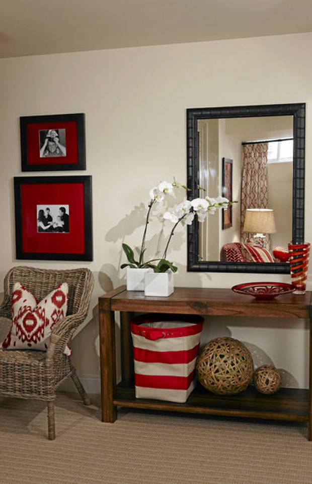 Accent items like storage and frame mats with a pop of color
