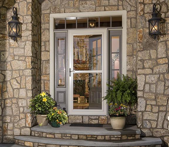 Tan Storm Door with Decorative Glass & LARSON Storm Doors and Windows | America\u0027s #1 Selling Storm Door Pezcame.Com