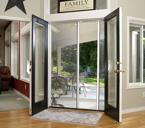 Exterior Door With Pet Door. Retractable Screen Doors for Double Larson Storm  Specialty Pet