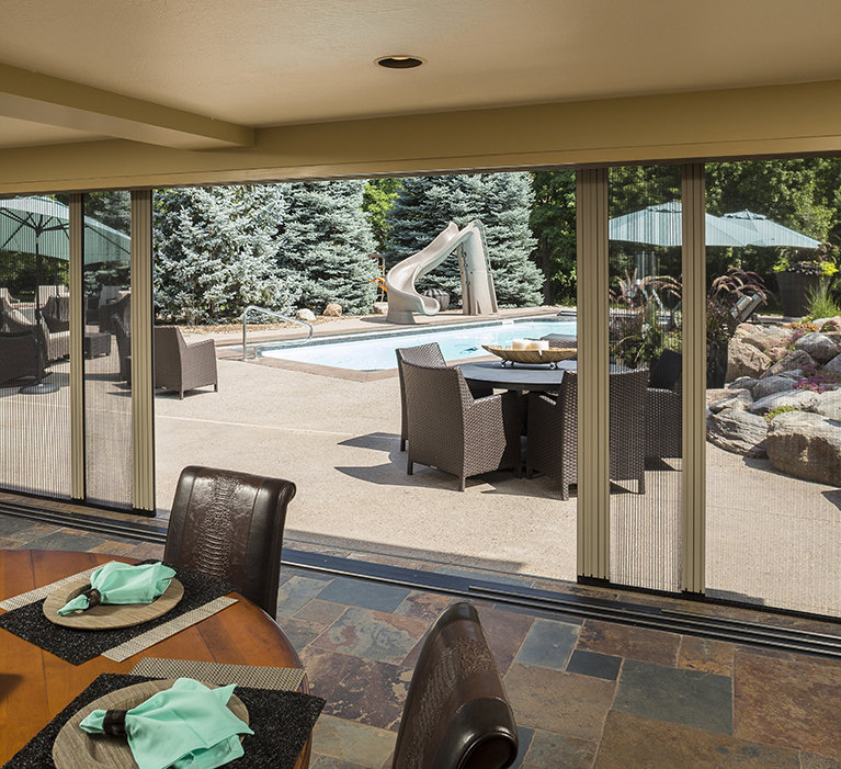 Larson storm doors retractable screen doors for Retractable patio doors